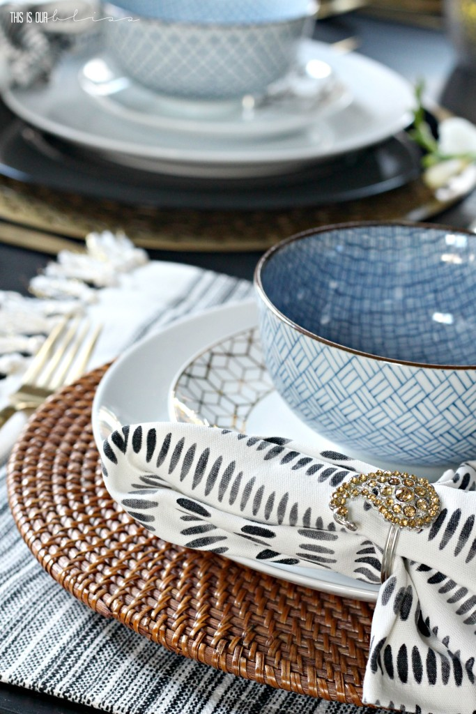 Bold Graphic Glam Dining Room Makeover   One Room Challenge Fall 2016   black, white, blue and gold Tablescape with Modern, Eclectic touches   This is our Bliss   www.thisisourbliss.com