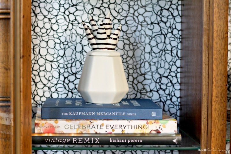 Bold Graphic Glam Dining Room Reveal   One Room Challenge Fall 2016   Thrifted China Hutch Makeover + Styled shelves   This is our Bliss   www.thisisourbliss.com