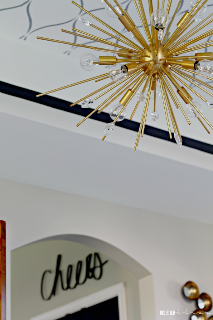 Bold Graphic Glam Dining Room Reveal   One Room Challenge Fall 2016   Dining Room Sputnik chandelier   This is our Bliss   www.thisisourbliss.com
