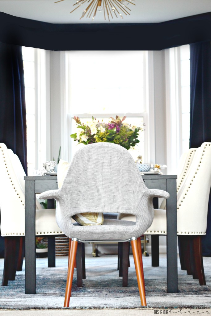 Bold Graphic Glam Dining Room Reveal | One Room Challenge Fall 2016 | Modern Eclectic Dining Room with lots of pattern play! | This is our Bliss || www.thisisourbliss.com