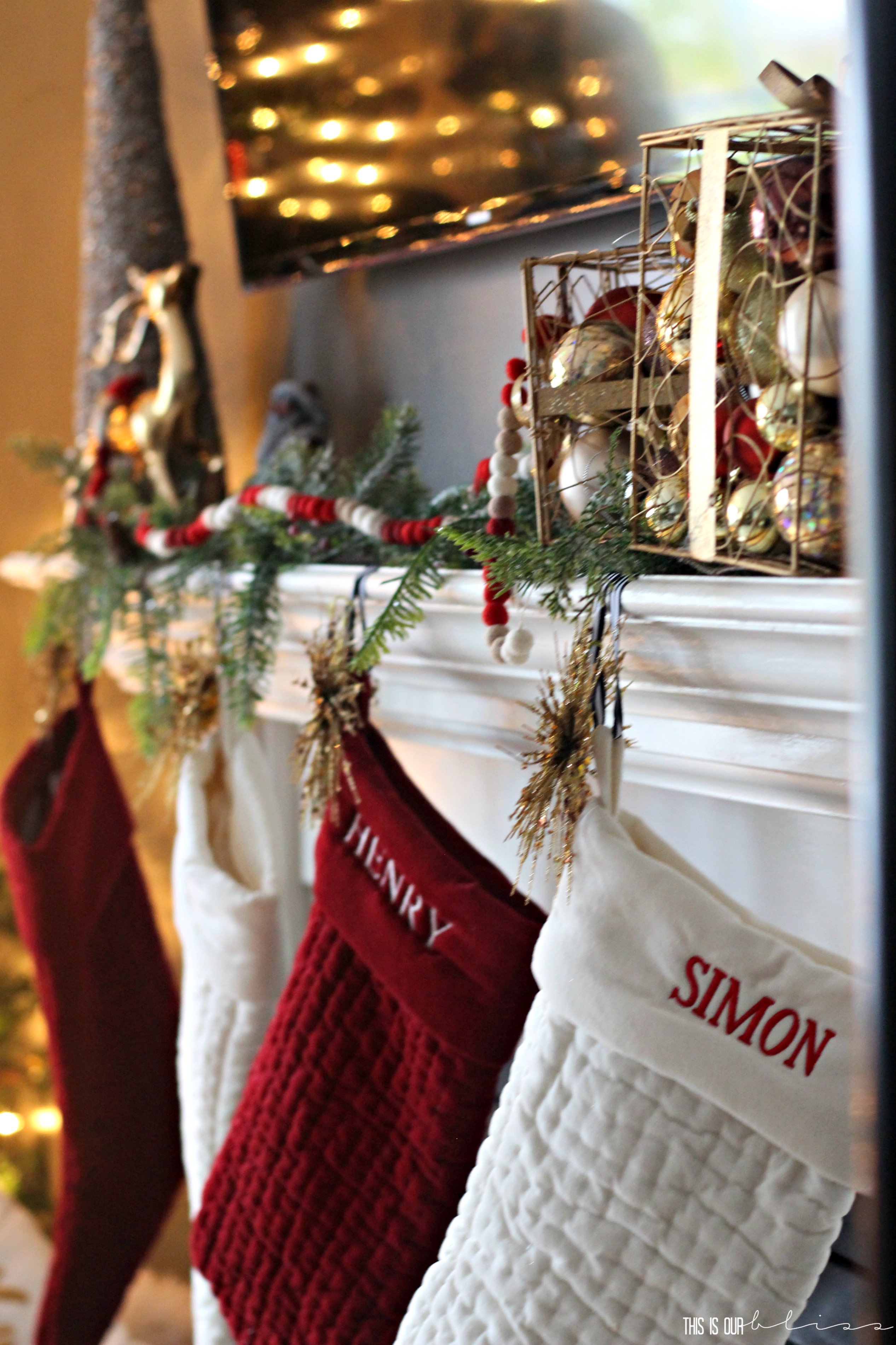 Uncategorized christmas decorations amp holiday decorations - Our Red And Ivory Stockings Were Hung Up With The Same Black And White Striped Ribbon But This Year I Added Gold Sunburst Ornaments To The Front Corner Of