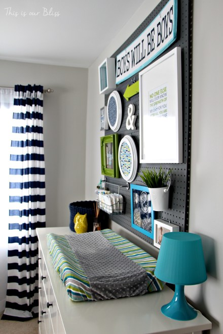 Little boy nursery pegboard gallery wall - DIY nursery decor - navy green & gray - This is our Bliss 5