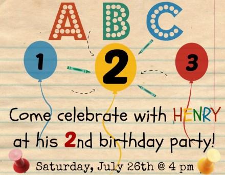 Henry 2nd bday invite