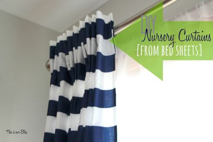 DIY nursery curtains from bed sheets - navy white striped curtain panels - this is our Bliss