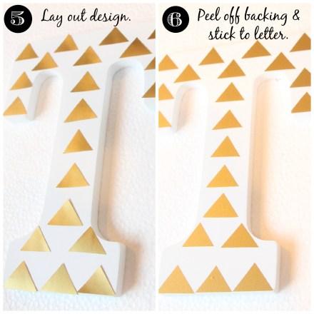 Gold Vinyl Triangle letter 2
