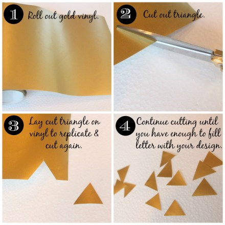 Gold Vinyl Triangle letters
