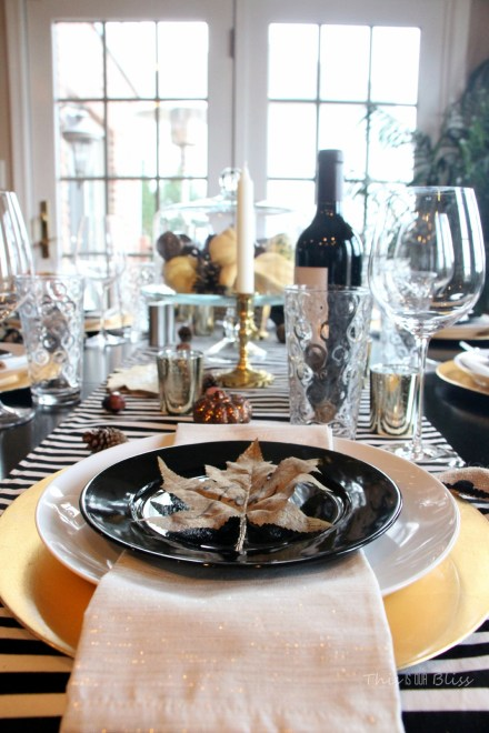 How to create a Modern & Elegant Thanksgiving Table-- black white & gold---natural touches -- This is our Bliss 4