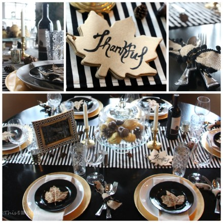 Modern Thanksgiving Tablescape--Black white & gold---modern with natural touches---the details