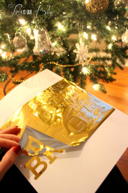 DIY gold foil art - holiday display - holiday decor - bling bling - merry and bright 3