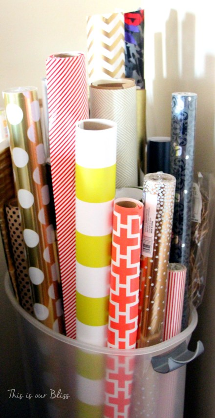 wrapping paper supply storage