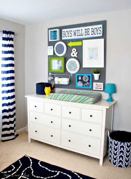 Baby boy nursery | nursery pegboard gallery wall | diy nursery decor | navy green gray nursery | nursery inspiration | This is our Bliss