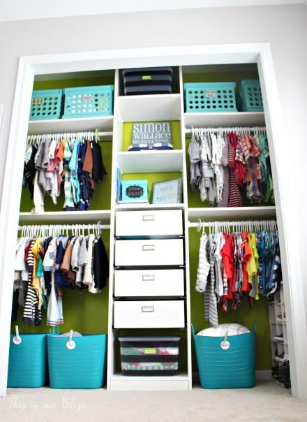 Baby boy nursery closet   diy nursery organization   navy green gray nursery   diy nursery decor  This is our Bliss
