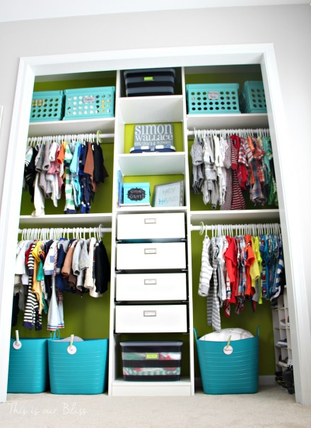 Baby boy nursery closet - DIY nursery decor - navy green gray - This is our Bliss