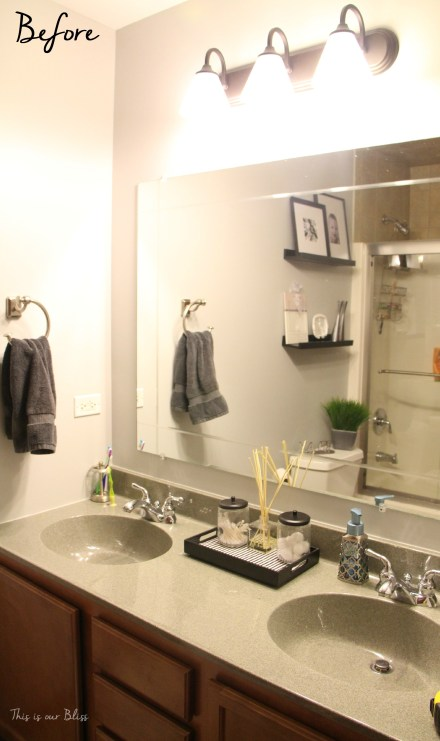 Simple Bathroom Vanity Light Fixture Update This Is Our