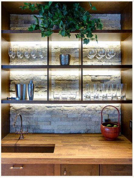 open shelves - stone backwall