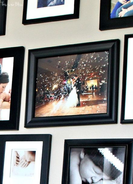 all black gallery wall - family photos - This is our Bliss