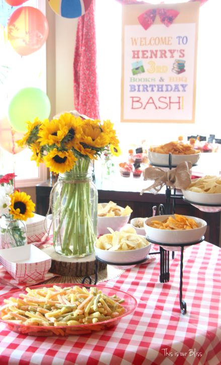 Books & BBQ birthday bash - 3rd birthday party - summer party - table set-up 1 - red gingham - This is our Bliss