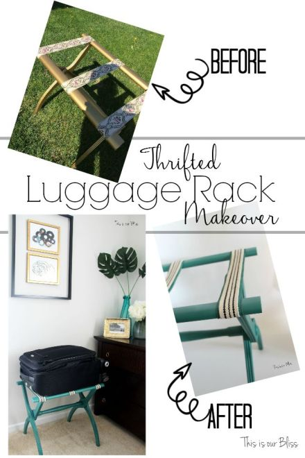 Thrifted luggage rack makeover - drab to fab - guestroom luggage rack - this is our bliss