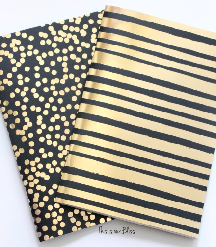 2 pack journals - black & gold foil polka dot journal turned art - guestroom art - gallery wall - This is our Bliss