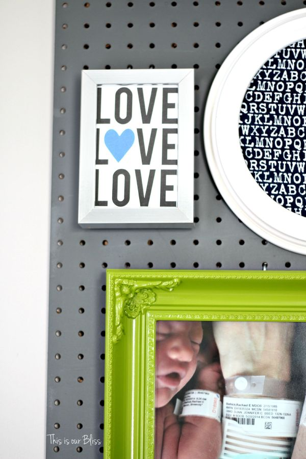 framing greeting cards as art - pegboard gallery wall - little boy nursery - LOVE - This is our Bliss