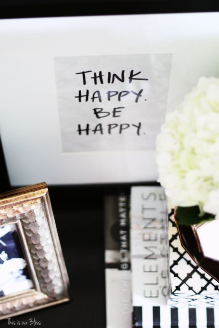 How to style a nightstand - leaning art - think happy be happy - This is our Bliss