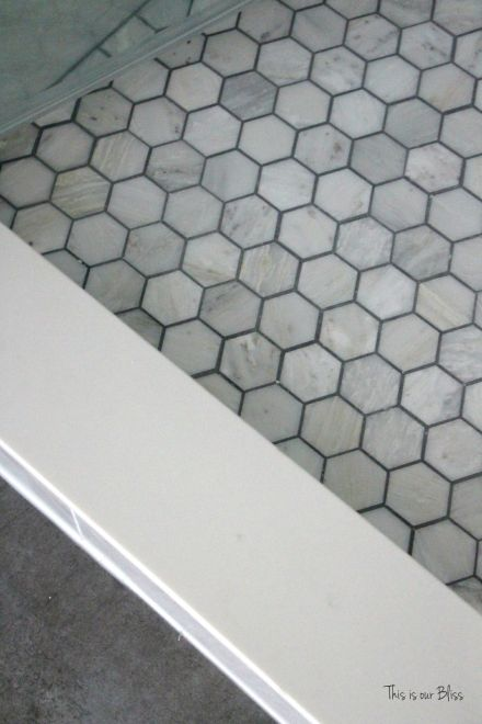 TIOB basement project - basement bathroom - carrera marble tile & marble hexago tile file - This is our Bliss