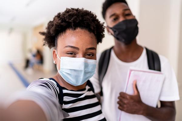 Children wearing face mask at school