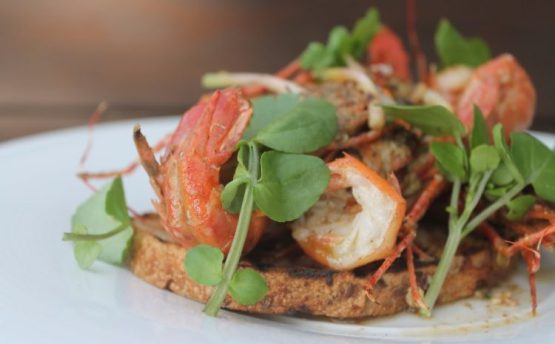 spot prawn toast from Edible Canada
