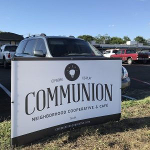 Communion Neighborhood Cooperative sign. This is Richardson podcast.