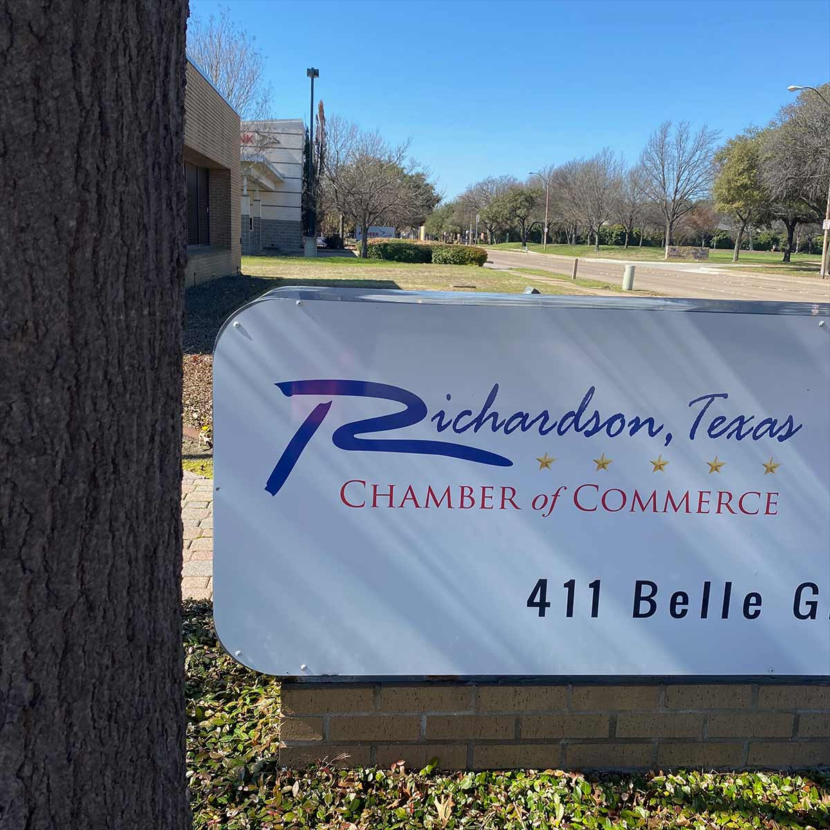 Photo of the Richardson Chamber of Commerce sign, home of Leadership Richardson. - This is Richardson, a podcast for the city of Richardson, Texas