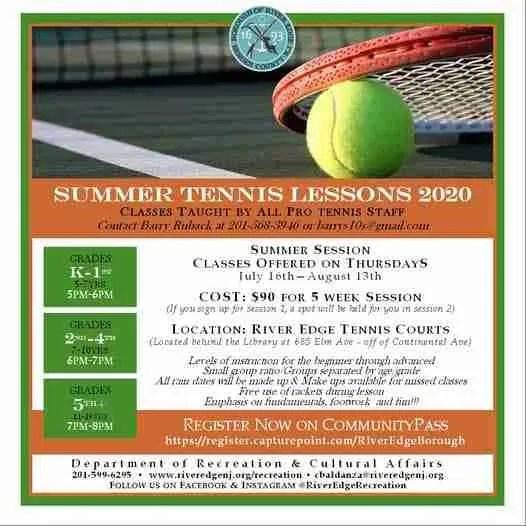 River Edge Recreation Tennis lessons