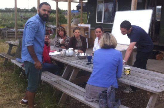 Summer evening shop meeting on the farm
