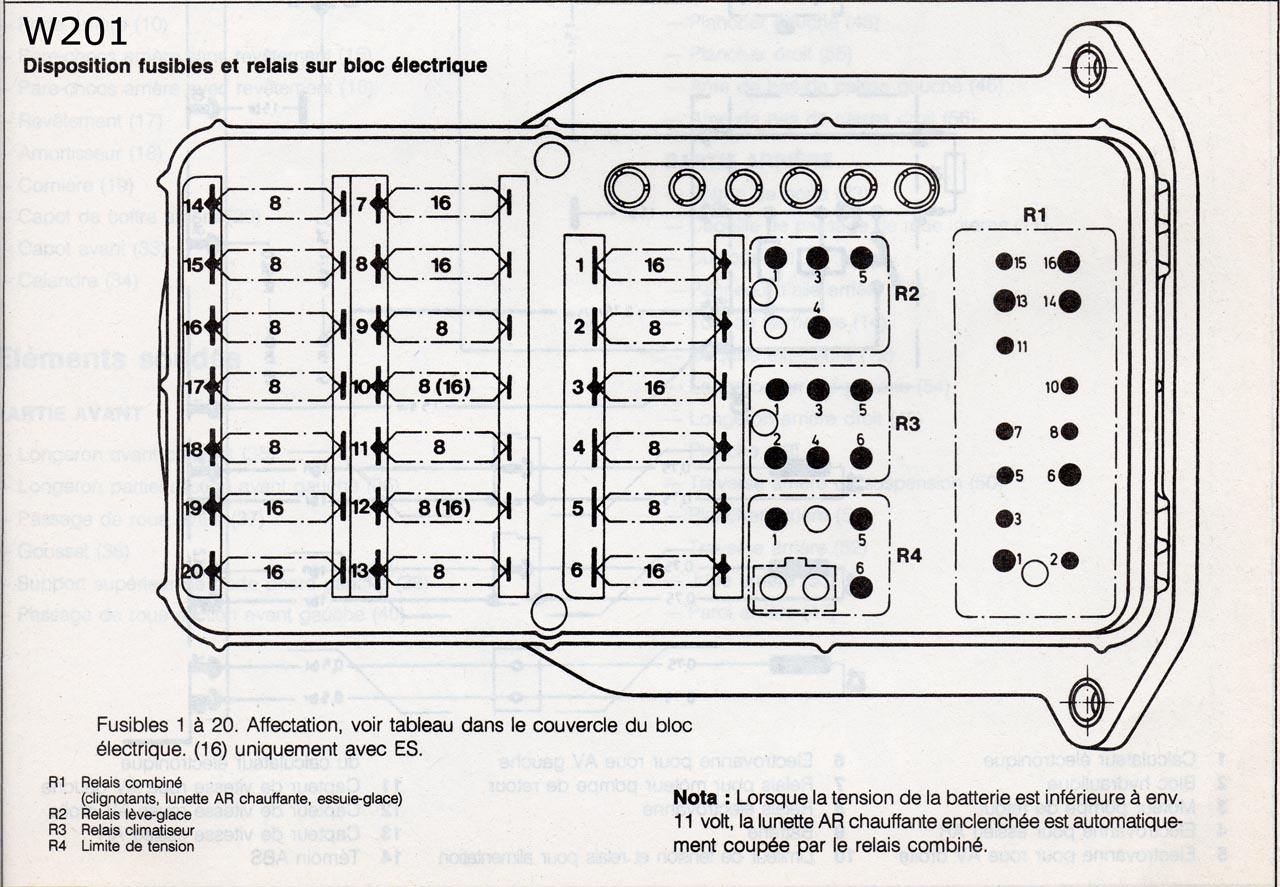 Doc W201 Shema Relais Fusibles Electricite