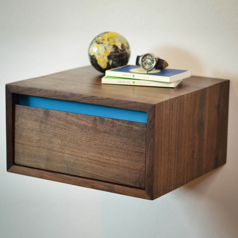 Floating Walnut Side Table or Night Stand with Aqua Blue Accent