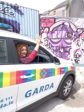 Local drag artist Fifi Fondue in Pride Garda car ahead of online parade. Courtesy of Debbie O'Rourke