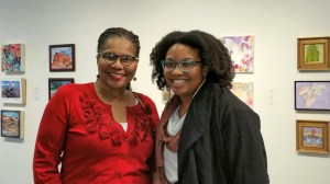 Deborah Peoples talking with WoCA Projects founder Laureen Cross