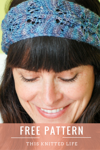 Free pattern! Use your sock and fingering weight scraps to knit this fun, simple wrap-and-tie hair band.