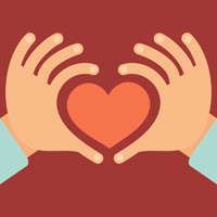 Vector hands in the form of heart - love and charity concept in flat style