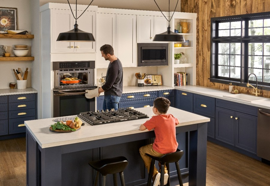 LG Combination Double Wall Oven in kitchen showcase
