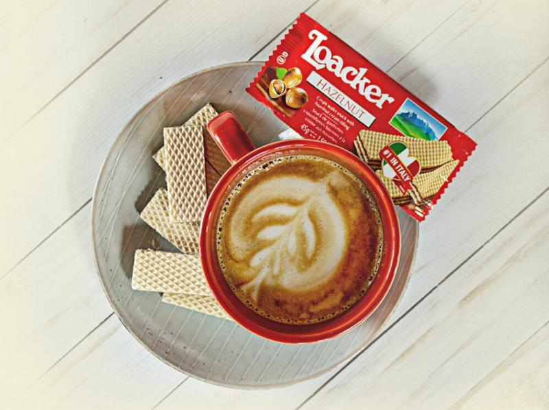 Loacker Hazelnut Wafers Paired with Coffee