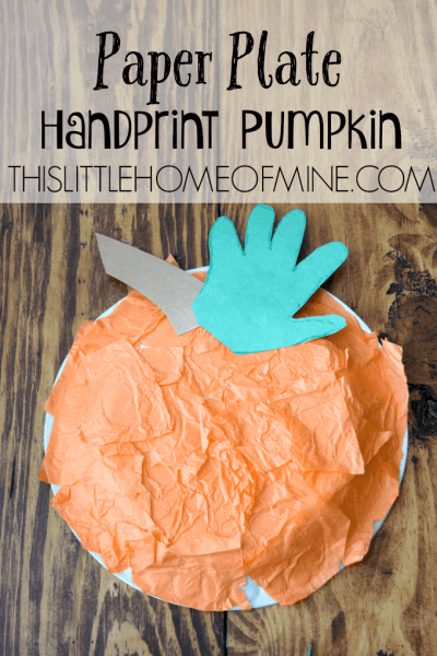 Paper Plate Handprint Pumpkin by