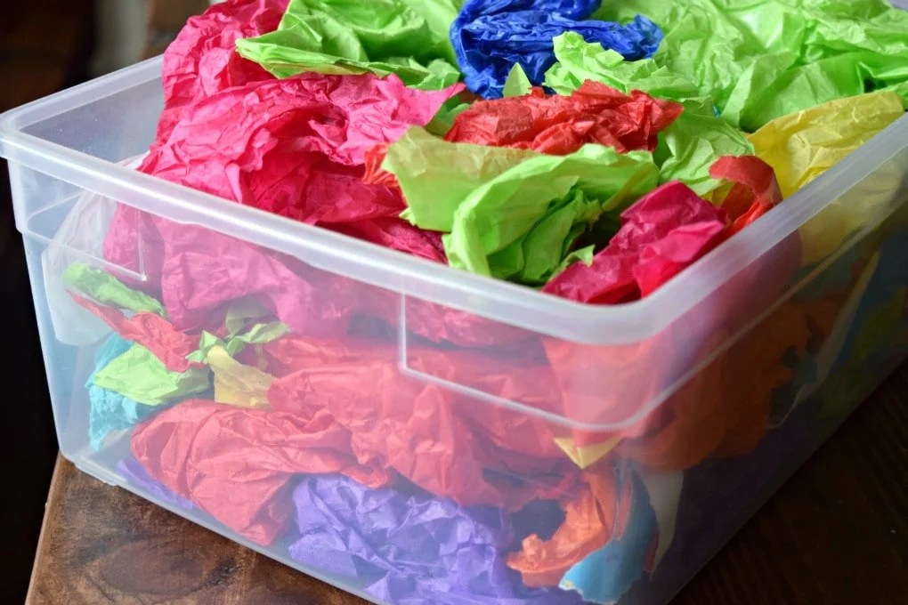 Tissue Paper Art Bin by This Little Home of Mine