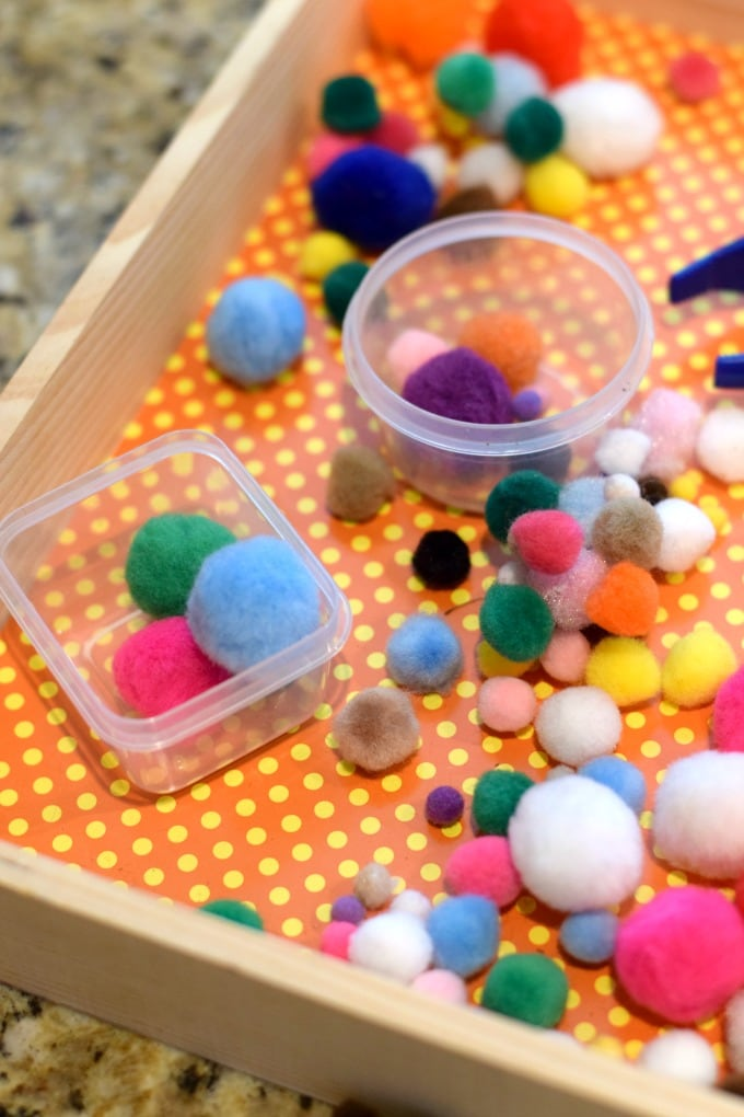 Fine Motor Skills Activity: Pom Pom Sorting with Small Containers