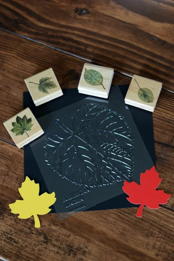 Thanksgiving Day Activities for Kids - Leaf Rubbings and Leaf Stamping by This Little Home of Mine