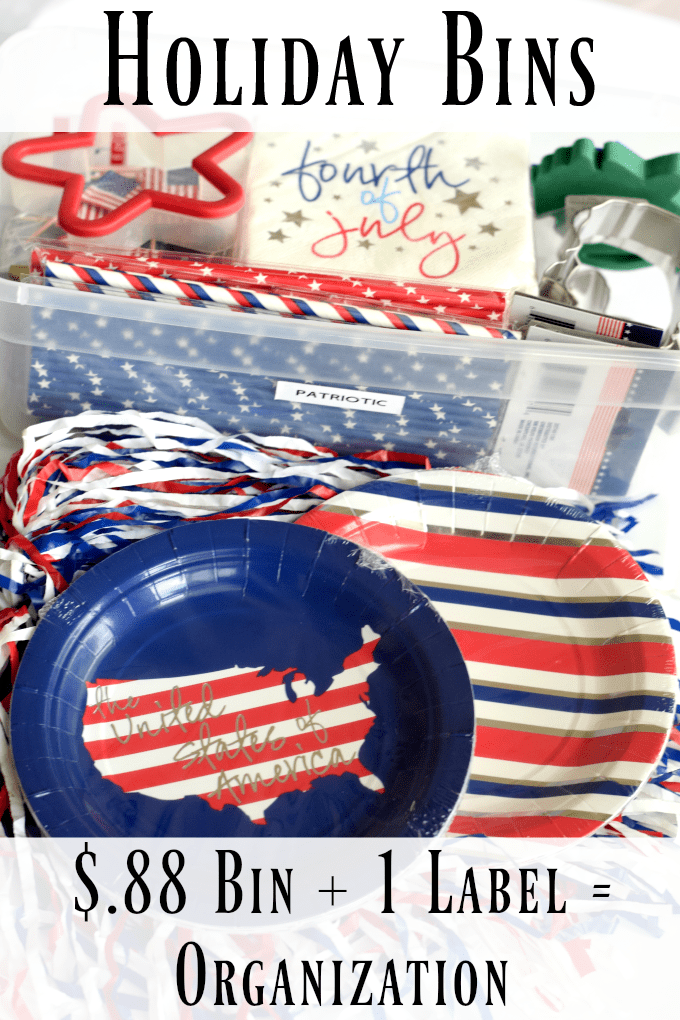 Red, White, and Blue Patriotic Activities Holiday Bin Organization by This Little Home of Mine