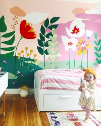 Kids Bedroom With Painted Flower Walls