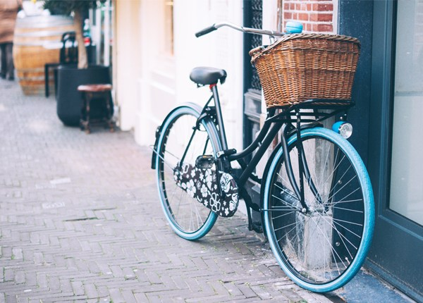 Beautiful vintage bike & basket in duck egg blue