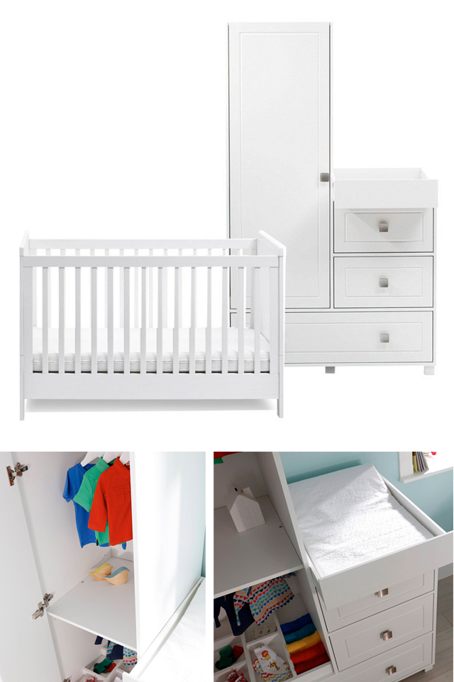 If you're tight on space but still need all the essentials in the nursery then the Silver Cross Soho Nursery set is fab, it features a wardrobe/dresser unit to maximise storage and has a nifty one touch changing station is cleverly hidden in the unit.