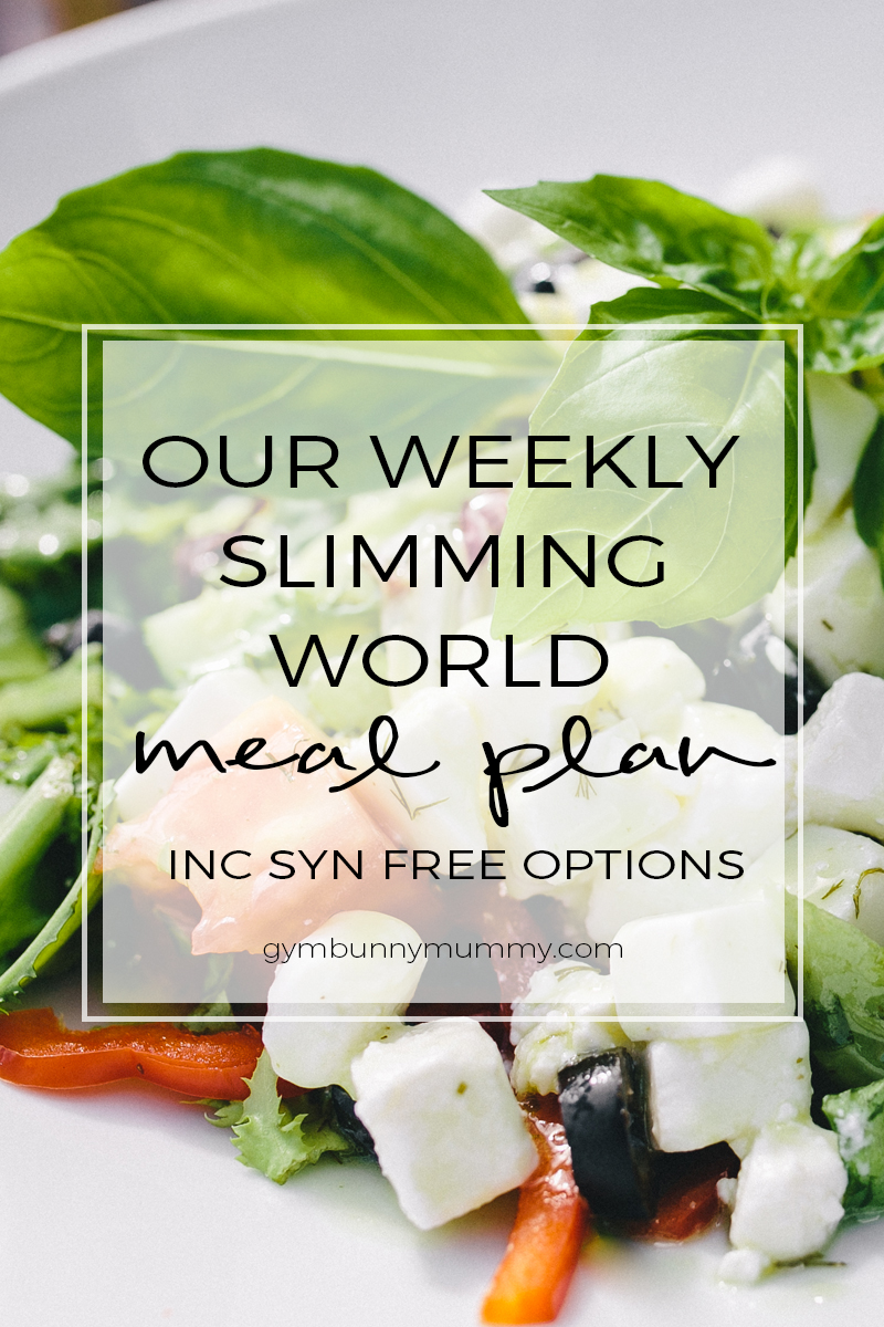 Our weekly slimming world meal plan, lot's of meal ideas and syn free meal options