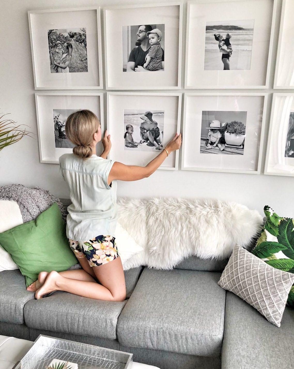 Groovy How To Create A Grid Style Gallery Wall Of Family Photos Creativecarmelina Interior Chair Design Creativecarmelinacom
